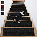Stair Treads Non-Slip Carpet Indoor Set of 14 Black Carpet Stair Tread Treads Stair Rugs Mats Rubber Backing (30 x 8 inch),(Black, Set of 14)
