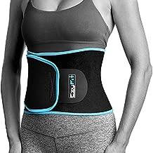 EzyFit Waist Trimmer Premium Exercise Workout Ab Belt for Women & Men Adjustable Belly Enhancer Sweat Burner Stomach Wrap Sweet Abdominal Muscle & Back Support, Black Blue Trim Fits 24-42
