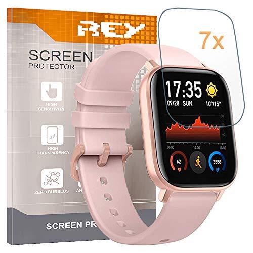 REY Pack 7X Bildschirmschutzfolie für XIAOMI AMAZFIT GTS, Premium-Qualität, Anti-Kratzen, Anti-Öl, Anti-Bläschen, SmartWatch