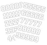 Chalkallaboutit Sports Helmet Numbers 1' Baseball, Hockey, Football and Lacrosse (White)