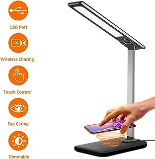 HARMONIC LED Desk Lamp,Wireless Charging Desk lamp,USB Charging Port,3 Lighting Modes,6 Brightness Levels,Dimmable Eye-Caring Desk Light for Office,Home,Dormitory(Adapter Included)