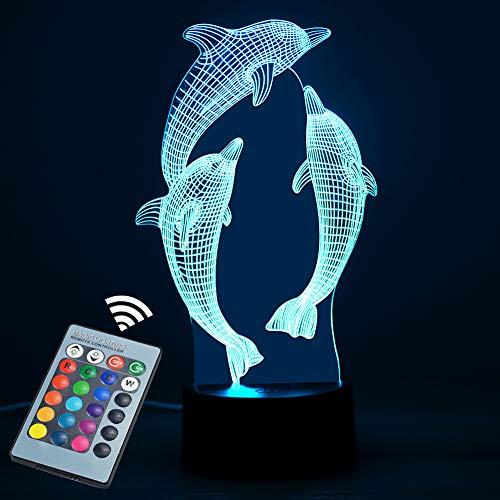 Luz nocturna 3D, chicos y chicas Lámpara de mesa con interruptor táctil Mando a distancia de 16 colores Cambio de colores-- iluminación cnsunway Regalos perfectos