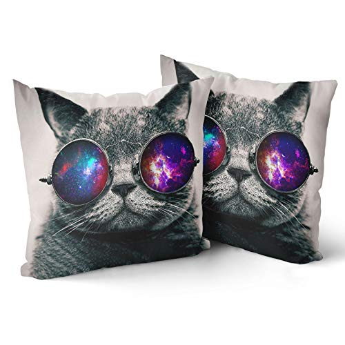 Granbey 2pcs Galaxy Hipster Cat Throw Pillow Cover Cat Wearing Sunglasses Throw Pillowcase 18 x 18 Inches Soft Cotton Double Print Home Decorative Cushion Cover Suitable for Indoor Outdoor and Car