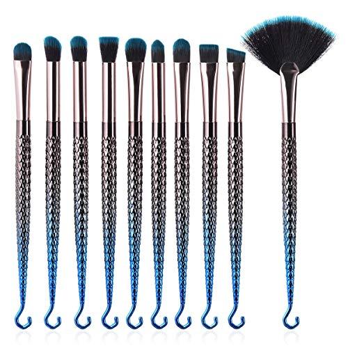MEIYY Pinceau De Maquillage 7 / 10Pcs Pinceaux De Maquillage Mis Fessional Fond De Teint Bleu Sirène Fondation Blender Blush Pinceau Fessionnel