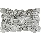 King Rose 3D Flower Home Decorative Accent Throw Pillow Case Rectangular Cushion Cover Soft Pillow Case for Sofa Couch Living Room 12 x 20 Inches Solid Suede Silver Grey