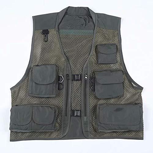 MILASIA Angeln Weste verstellbare Taille Multi Taschen ärmellose Jacke Mesh Fotograf Jagd für Männer Frauen
