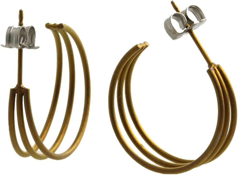 Ti2 Titanium Womens Three Strand Hoop Earrings  Tan Beige
