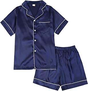 amropi Family Matching Silk Pyjama Set Long Sleeve Loungewear 2 Pieces Sleepwear for Women Kids