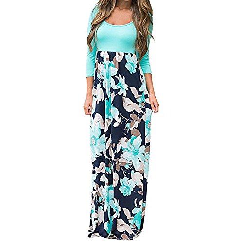Dames maxi-jurk swing bloemen zomerjurk lange mouwen ronde hals strandjurk vrouwen modieuze losse partyjurk cocktailjurk sale opruiming