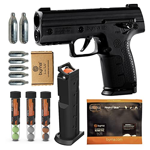 Byrna SD [Self Defense] Pepper Ultimate Bundle - Pepper Spray, Non Lethal, Less Lethal Pepper Launcher, Home Defense, Personal Defense (Black)   Proudly Assembled in The USA