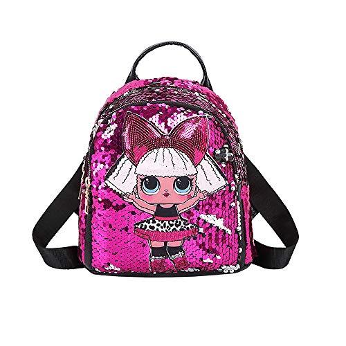 DANGONG BROTHERS Rucksack für Mädchen und Teens Überraschung Rucksack Kinder LOL Tasche mit Licht Pailletten für die Schule oder Reise,Rosa