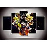 WYJIE 5 Piezas HD Print Painting Set Animated Dragon Ball Imagen Dormitorio Decorativo Moderno Living Room Wall Art DecorFramed20x35cm20x45cm20x55cm