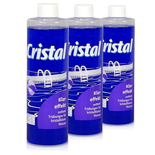 Spar-Set> 3X Cristal Klareffekt 0,5 l/Trübungsentferner für kristallklares Wasser/Pool Schwimmbadpflege