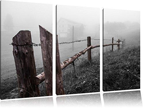 hek prikkeldraadFoto Canvas 3 deel | Maat: 120x80 cm | Wanddecoraties | Kunstdruk | Volledig gemonteerd