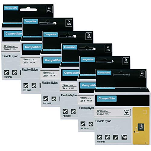 6-Pack Compatible Label Tapes Replacement for DYMO 18489 3/4