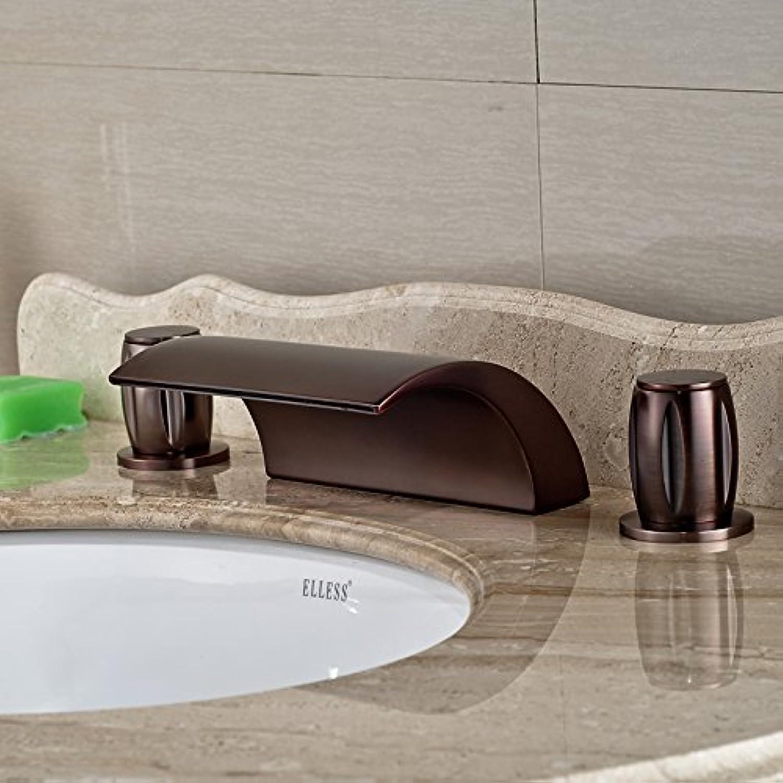 Maifeini  Rieb Bronze Verbreitete Wasserfall Dual Griff Waschbecken Wasserhahn Deck Montiert Badezimmer Wc Waschbecken Armaturen, Stil A