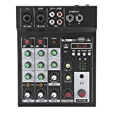 Mezclador de audio digital, consola de mezcla Bluetooth portátil de 4 canales, efecto de...