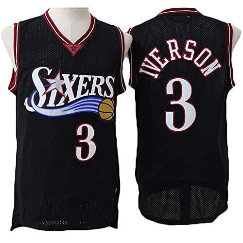 LITBIT Baloncesto para Hombre NBA Jersey Vintage Sixers 3# Iverson Transpirable Quick Secking Sin Mangas Vestima Top para Deportes,Negro,XL