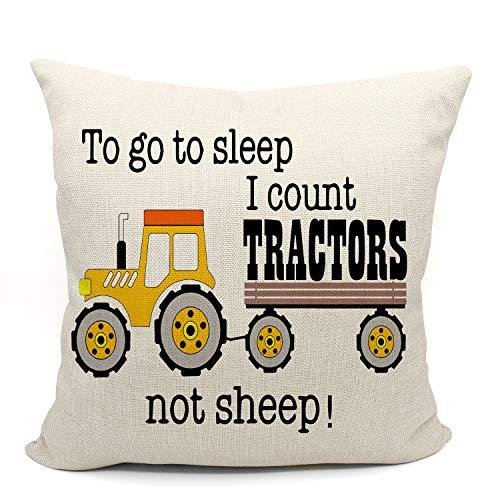 Mancheng-zi To Go to Sleep I Count Traktors Not Sheep Wurfkissenbezug Geschenke für Sohn, Neffe, Enkel, Jungenzimmer-Dekorationen, 45,7 x cm, dekorativer Baumwoll-Leinen-Kissenbezug Sofa Couch Bett