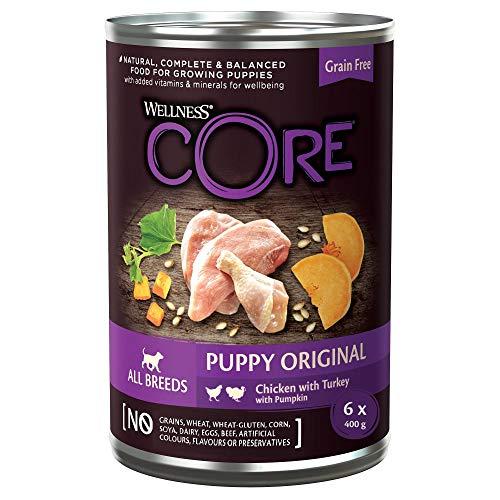 Wellness CORE Puppy, Hundefutter nass getreidefrei für Welpen, hoher Fleischanteil, Huhn & Pute, 6 x 400
