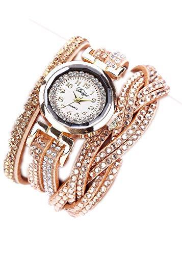 2020 New Women Watch,Leewos Ladies Luxury Crystal Ladies Gold Bracelet Quartz Wristwatch Watches(gold,Free)