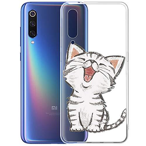 ZhuoFan Xiaomi Mi 9 Hülle, Schutzhülle Silikon Transparent mit Muster Motiv Handyhülle Ultra Dünn Slim Stoßfest Weich TPU Bumper Case Backcover für Xiaomi Mi 9, Lächelnde Katze