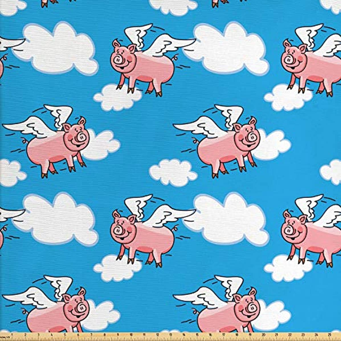 Lunarable Pig Fabric by The Yard, Flying Pig Cartoon Style Characters with Wings The Saying Great Kid Clouds, Decorative Fabric for Upholstery and Home Accents, 2 Yards, Blue White Pale Pink