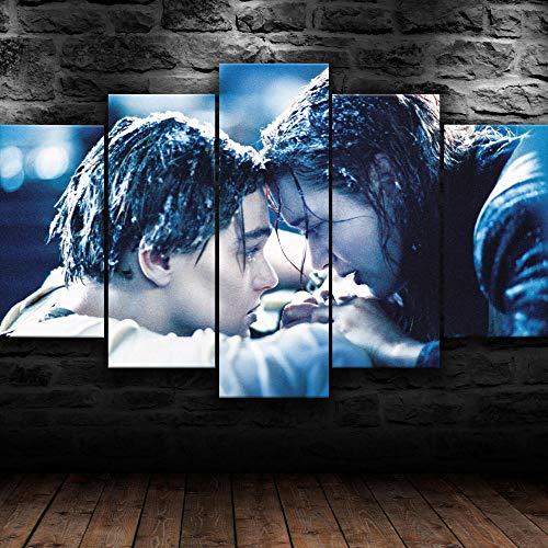 Cuadro Sobre Lienzo 5 Piezas Impresión En Lienzo Ancho: 150Cm, Altura: 100Cm Listo Para Colgar-Película Titanic Jack Y Rose En Un Marco