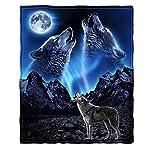 "Dawhud Direct Super Soft Full/Queen Size Fleece Blanket, 75"" x 90"" (Wolves Howling Moon)"