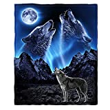Dawhud Direct Super Soft Full/Queen Size Fleece Blanket, 75' x 90' (Wolves Howling Moon)