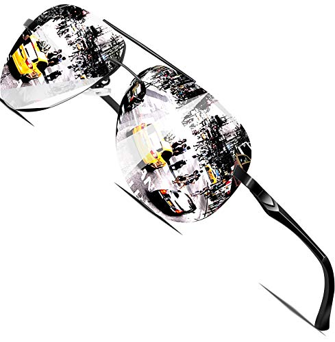 ATTCL Occhiali da Sole, Al-Mg Montatura Classica in Metallo per Uomo Medio Nero - Argento