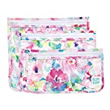 Bumkins TSA Approved Toiletry Bag, Travel Bag, Quart Zip Pouch, PVC-Free, Vinyl-Free, Clear Sided, Set of 3 – Watercolor , 5