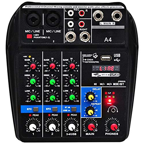 YeBetter Eu-Stecker A4 Stimme Mischpult USB Aufnahme Computer Wiedergabe 48V Phantomspeisung Verz?gerung Wiederholeffekt 4 Kan?le USB Audiomischer