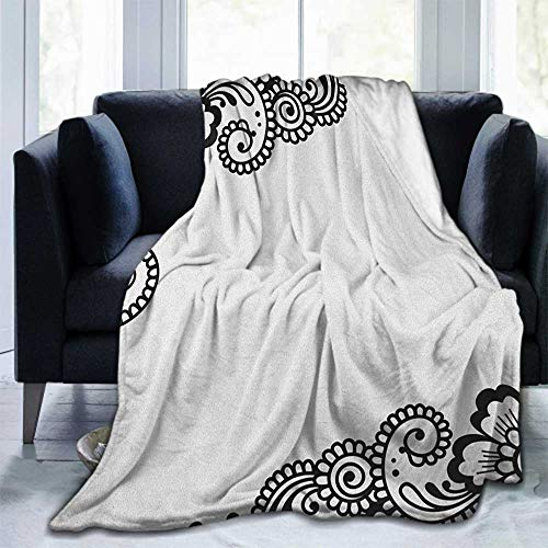 championCEL Henna Lightweight Cozy Bed Blanket Super Soft Throw Blanket fit Couch Sofa for Living Room Suitable for All Season 80'x60' Black White