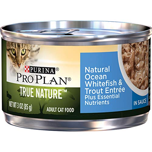 Purina Pro Plan Natural Wet Cat Food, TRUE NATURE Natural Ocean Whitefish & Trout Entree in Sauce - (24) 3 oz. Pull-Top Cans