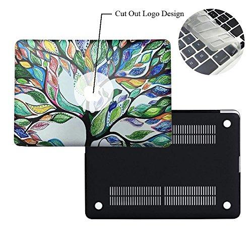 Rinbers 3D-Druck Ultraflache Soft-Touch-Hartschalen-Hülle mit Schnappverschluss oben & unten für MacBook 12 Zoll mit Retina-Bildschirm (A1534) - Tree of Life