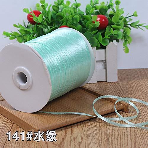 Nologo KUQIQI 22Meters / Lots 3mm Silk Satin-Bänder Weihnachten Hochzeit Dekoration Valentinstag-Partei-Geschenkverpackung Weiß Rot Grün-Bänder,Hohe Qualität (Farbe : Tiffany Blue)