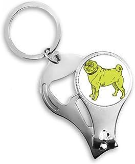 PINGFUFF HOME 黄色漫画犬イラストパターンキーチェーンリングつま先ネイルクリッパーカッターはさみツールキット栓抜きギフト
