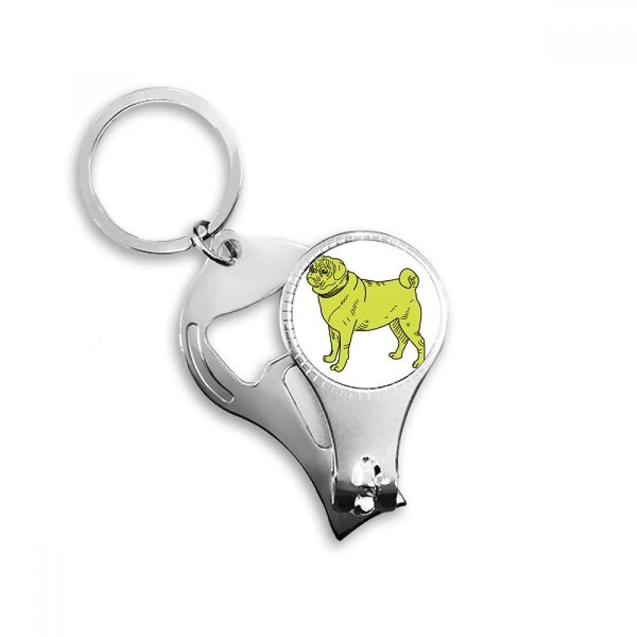 軽食アジアサドルPINGFUFF HOME 黄色漫画犬イラストパターンキーチェーンリングつま先ネイルクリッパーカッターはさみツールキット栓抜きギフト