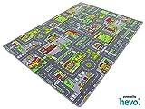 HEVO Stadt Mix Strassen Spielteppich | Kinderteppich 200x200 cm