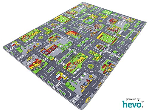 HEVO Stadt Mix Strassen Spielteppich | Kinderteppich 145x200 cm