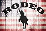 Yeele 6x4ft Rodeo Photography Backdrop Western Wood Floor with America Flag Pattern Photoshoot Background Cowboy Theme Birthday Banner Kids Adults Portrait Photo Booth Studio Props
