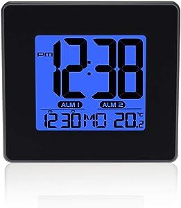 XHCP Horloge numérique à Del Temporisation du Sommeil Température réglable du Volume Affichage numérique Double réveil Snooze réveil Horloges (Couleur: A)