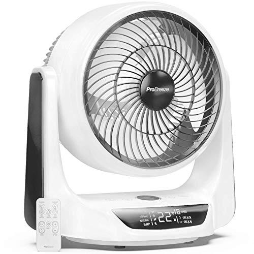Pro Breeze Ventilador de Mesa Turbo de 25 cm de 28 W con Sensor de Temperatura, Mando a Distancia, 9 Velocidades, 4 Modos, Temporizador, Pantalla LED y Oscilación