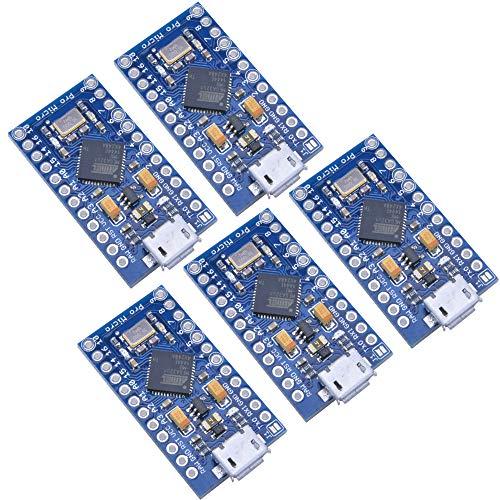 Aideepen 5個セット プロマイクロATmega32U4 3.3V 16MHz 2列ピンヘッダモジュール交換Pro Mini ATmega328ボードArduinoレオナルド用 (3.3V)