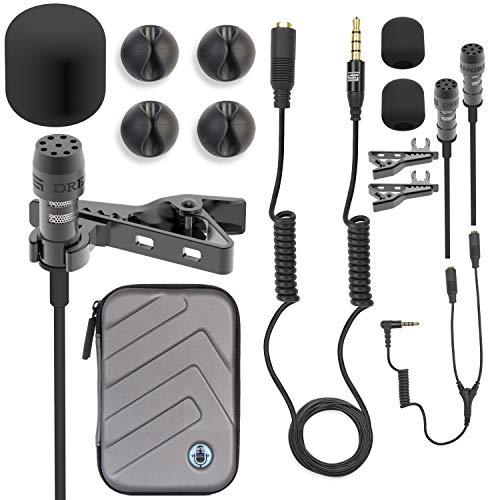 Micrófono de solapa Lavalier 2HD, accesorios completos, DREAMGRIP LAV PRO para cualquier teléfono con extensiones, soportes de micrófono invisibles y más, el mejor kit para Youtubers