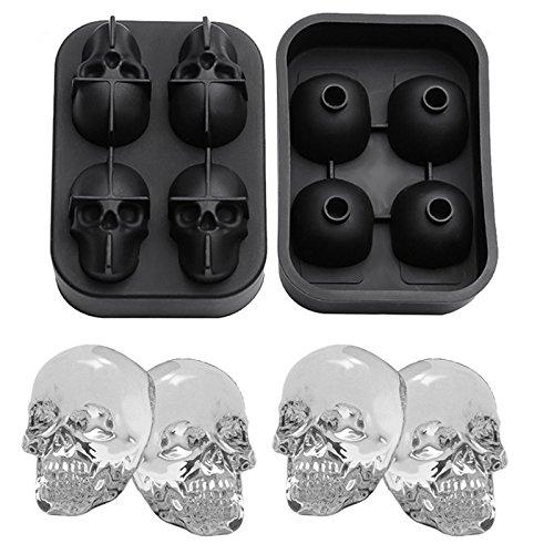 wkmr 3D Totenkopf Silikon Eiswürfel Form mit Mini Trichter, vier GIANT Skulls, Ice Cube Maker in Formen für kühle Bourbon, Whiskey, Cocktail, Schokolade, Getränke etc, Schwarz