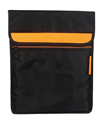"""Saco Ultra Slim Stylish Trendy and Water Resistant , Shock Proofed, Protective Laptop Pouch Bag Sleeve Carry Case Cover For 13 Inch ,13.6""""Inch Laptop With Vertical (Orange) Removable Shoulder Strap, Extra Pocket, Black Suitable For HP / Acer / Sony / Asus / Lenovo / Fujitsu / Dell / Toshiba / I ball / Apple and All Brand Laptops"""