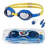 KidSwim - Gafas de natación para niños (Edad 4 – 12), sin Fugas, Impermeables, con Lente antiniebla y Correa de Silicona Suave