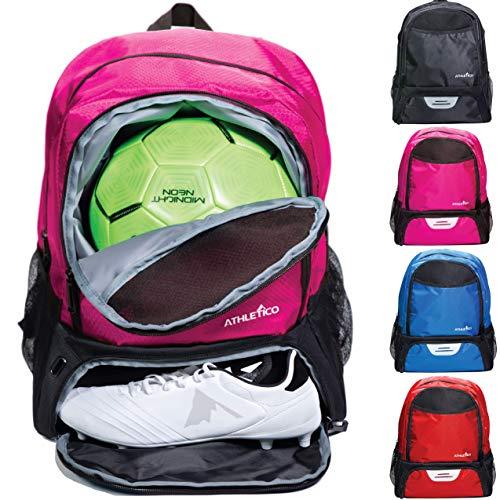 Athletico Fußballtasche für Jugendliche, Fußball-Rucksack & Taschen für Basketball, Volleyball & Fußball | für Kinder, Jugendliche, Jungen, Mädchen | inkl. separaten Stollen und Ballfächern (Pink)